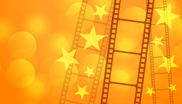 Film reel strip with stars cinema background
