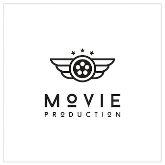 Film reel and wings for movie production logo