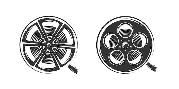 白い背景で隔離のフィルムリールシルエット