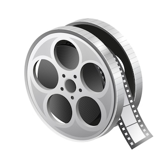 Film roll icon. movie reel. realistic reel of film. illustration on white background.  graphic.