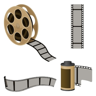 Film roll sets of elements for filmmaking. movie industry icons to produce motion pictures.