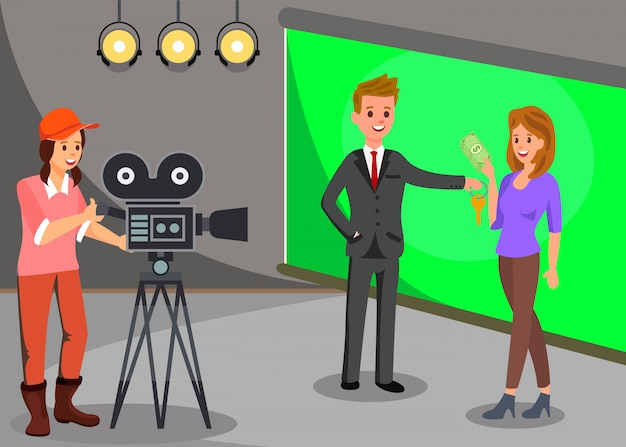 Film set, commercials shooting vector illustration