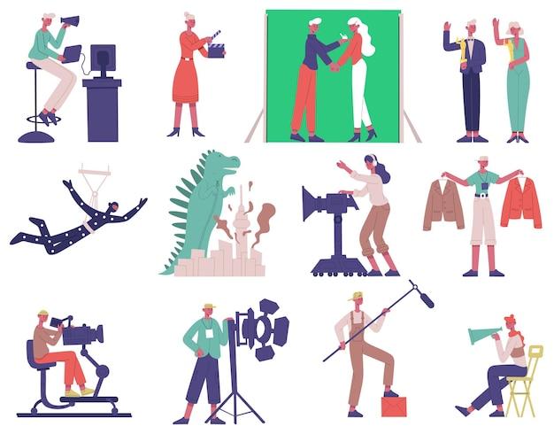 Киносъемка персонажей. процесс производства кино, кинорежиссер, оператор и актеры векторные иллюстрации набор. персонажи кинопроизводства