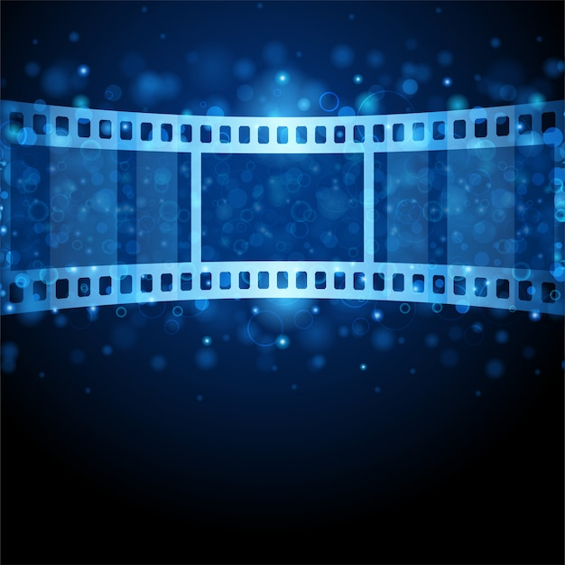 Film strip against shining bubbles illustration