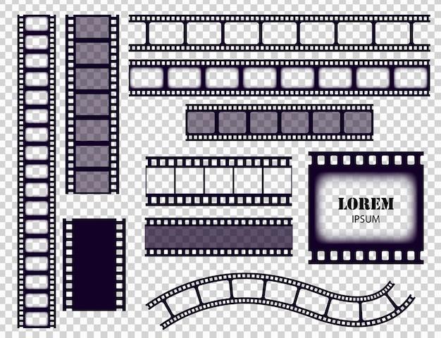 フィルムストリップコレクション。透明な背景に分離されたシネマボーダーテープまたはフォトネガ。モノクロフィルムストライプセットベクトルイラスト。