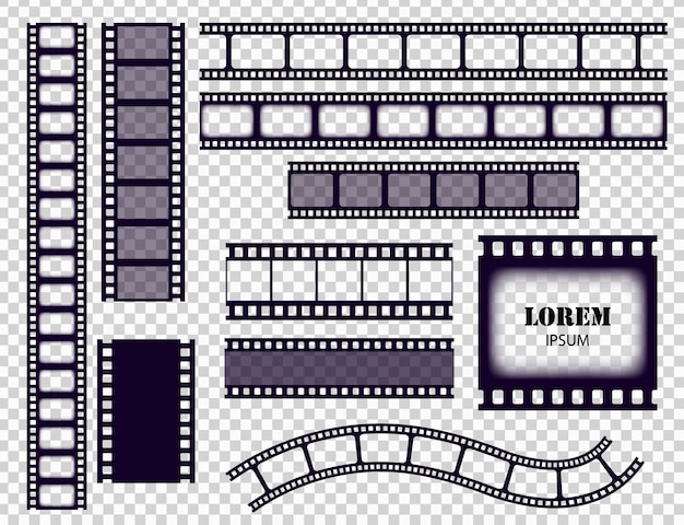 Film strip collection. cinema border tapes or photo negative isolated on transparent background. monochrome film stripes set vector illustration.