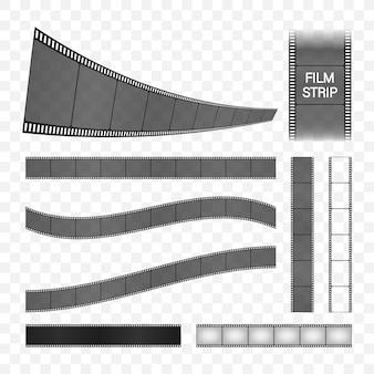 フィルムストリップコレクション。シネマフレーム。レトロなフィルムストリップ、あらゆる目的に最適なデザイン。ストックイラスト。