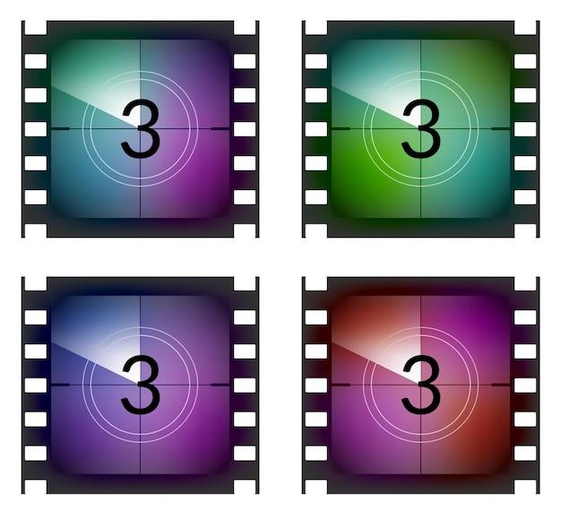 Film strip countdown movie number cinema vintage vector old frame illustration.