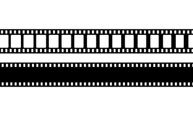 Значок кинопленки в черном. фотопленка. вектор на изолированном белом фоне. eps 10.