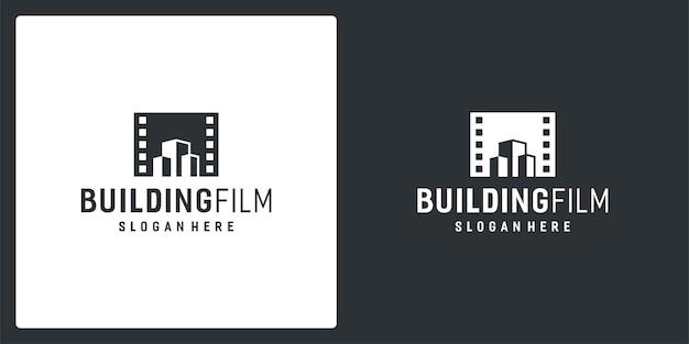 Вдохновляющие логотипы кинопленки и строительные логотипы. премиум векторы