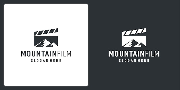 Film strip logo inspiration and mountain logo. premium vector