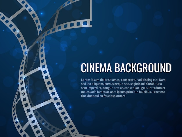 Film strip roll poster. movie production with realistic blank negative film frames and text.  cinema background
