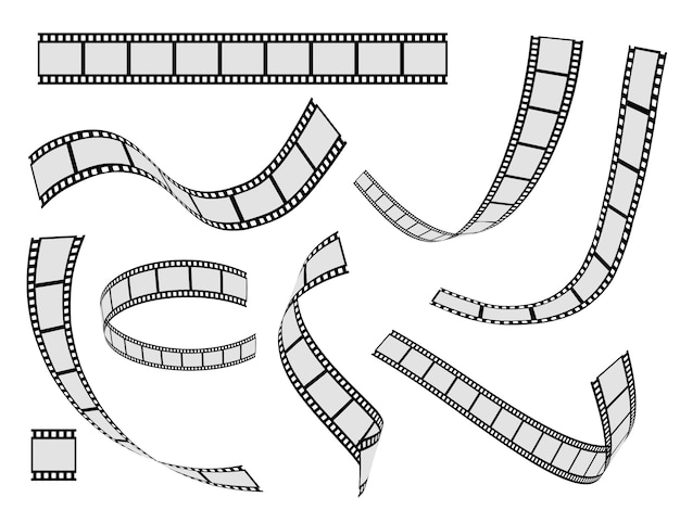 Film strip set. cinema strip roll 35mm blank slide frame, photo video monochrome picture negative vintage media,  movie