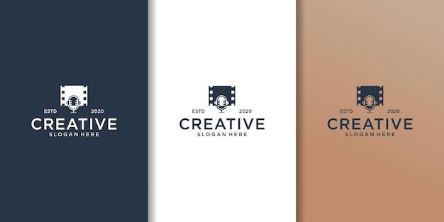 팟 캐스트 로고 디자인을위한 마이크가있는 필름 스트립