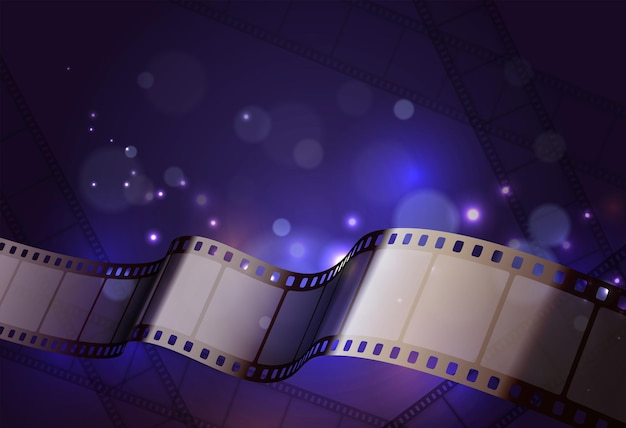 Film stripes reels realistic composition with curvy strip in front of neon lights background with glows