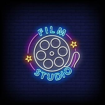 Film studio neon signs style text vector