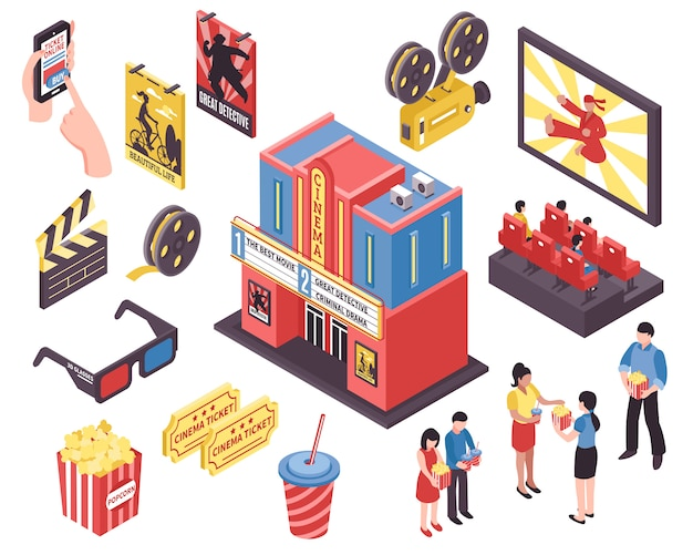 Film theatre isometric elements