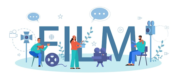 영화 인쇄용 헤더 개념. 창의적인 사람과 직업에 대한 아이디어. 촬영 과정을 주도하는 영화 감독. 클래퍼 및 카메라, 영화 제작 장비.