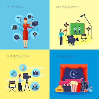 Filmmaking concept flat elements and characters with movie director with loudspeaker and cameraman abstract isolated vector illustration