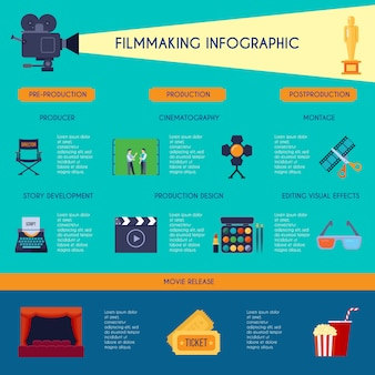 Filmmaking infographic flat retro style poster with movie making and watching classic symbols blue vector illustration