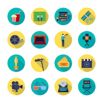Filmmaking and movie release attributes flat round elements collection with film bobbin and tickets isolated vector illustration