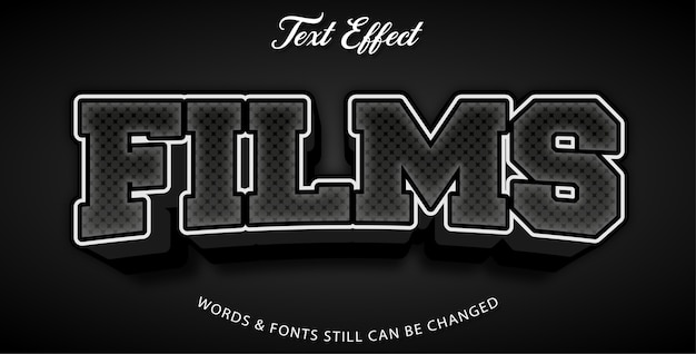 Films editable text effect