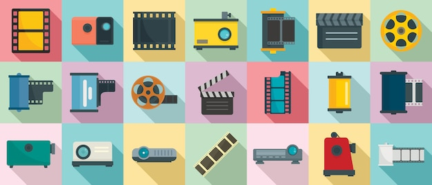 Filmstrip icons set, flat style