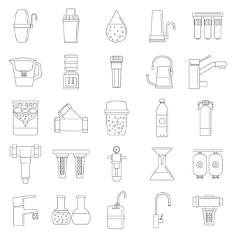 Filter water system icon set