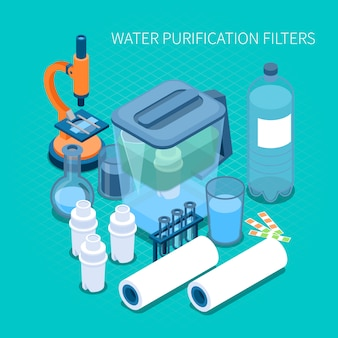 Filters for home water purification and test laboratory equipment isometric composition