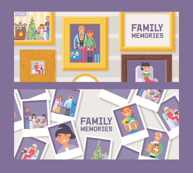 Fimily memories set of banners vector illustration.  picture framing. vintage gold and wooden frames. photography with happy people. good memory. photos of family members and events.