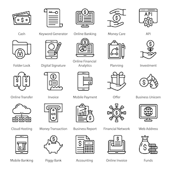 Fin tech line icons pack