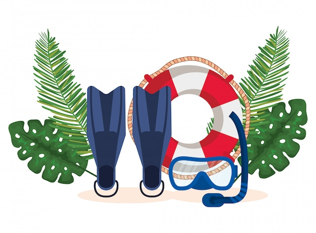 Fin water equipment with float and snorkel masks with leaves plants