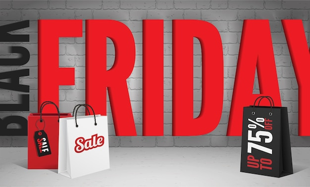 최종 할인 제공 벡터 배너 템플릿입니다. 회색 벽돌 벽 배경에 검정 및 빨강 검정 금요일 비문. 75% 가격 할인 광고 포스터 디자인 레이아웃의 현실적인 쇼핑백