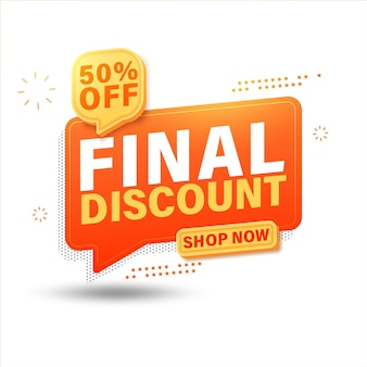 Final discount sale banner site, up to 50% off.