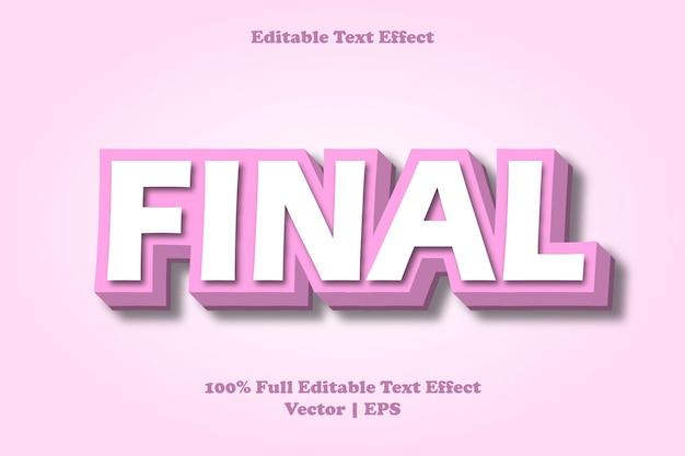 Final editable text effect