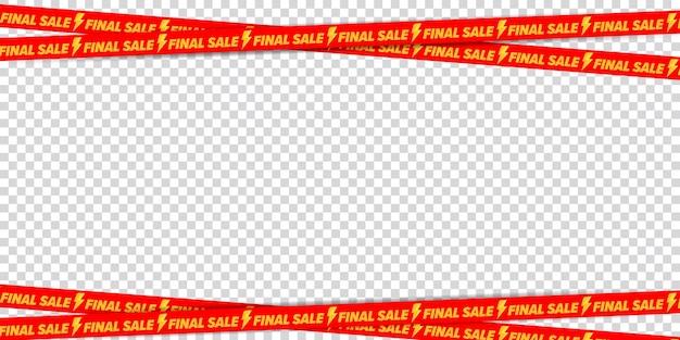 Final sale advertising crossed ribbon border frame design.