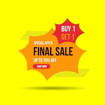 Final sale banner, up to 50% off. vector illustration
