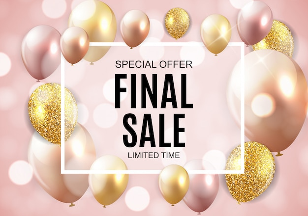 Final sale banner with balloons
