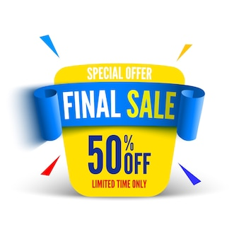 Final sale banner with blue ribbon.