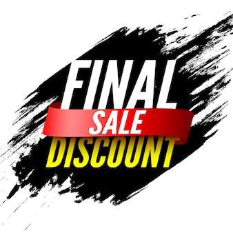 Final sale banner with red ribbon and brush strokes