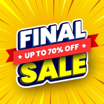 Final sale banner on yellow striped