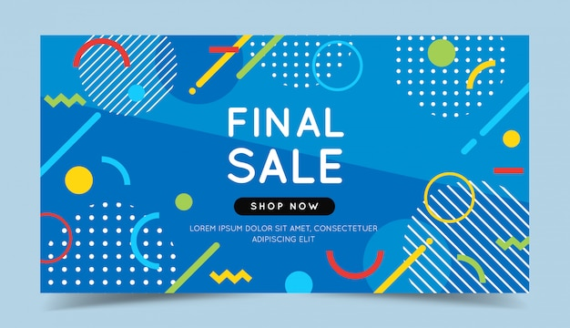 Final sale colorful banner with trendy abstract geometric elements and bright background.
