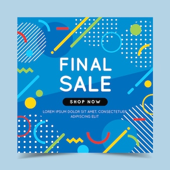 Final sale colorful banner with trendy abstract geometric elements and bright.