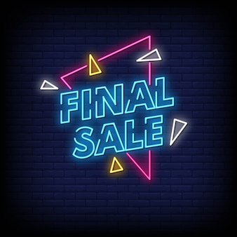 Final sale neon signs style text