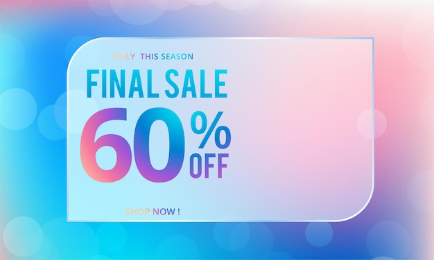 Final sale poster design with 60% discount offer on orange background