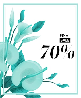 Final sale seventy percent coupon with mint calla lily and frame.