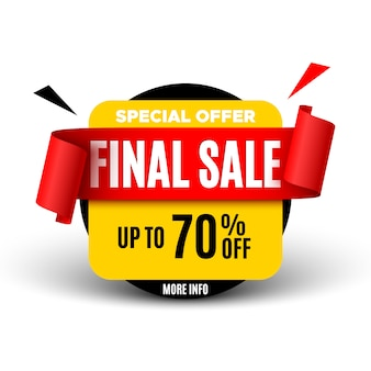 Final sale  with red ribbon.