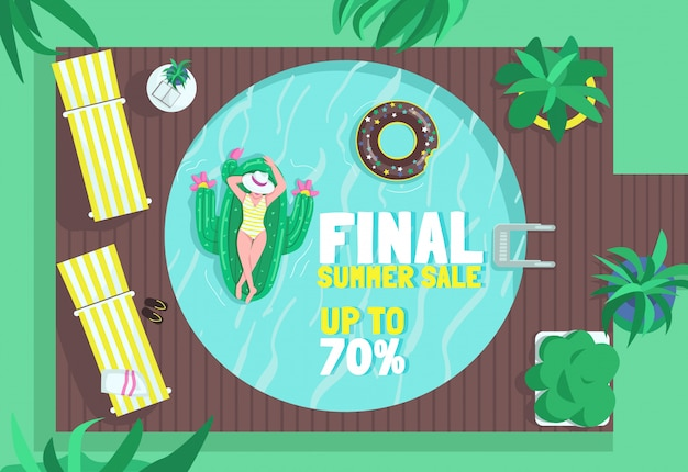 Final summer sale poster flat  template. purchase air mattresses. inflatable water rows shop. brochure, booklet one page concept design with cartoon characters. pool equipment flyer, leaflet