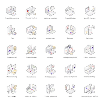 Finance and accounting isometric icons pack