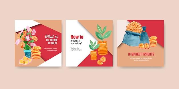 Дизайн рекламы финансов с иллюстрацией акварели денег, валюты, наличных денег, дела и банка.